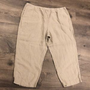 J.Jill Cropped Pants Size Large Pull On Linen